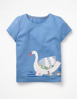 Elizabethan Blue Swan Animal Appliqué T-shirt