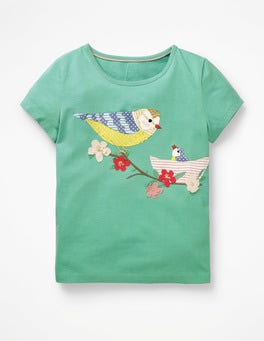 Jungle Green Birds Animal Appliqué T-shirt