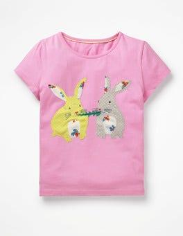 Lilac Pink Bunnies Animal Appliqué T-shirt