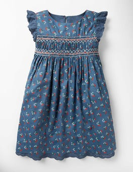 Lagoon Blue Vintage Posy Nostalgic Smocked Dress