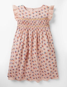 Pink Vintage Posy Nostalgic Smocked Dress