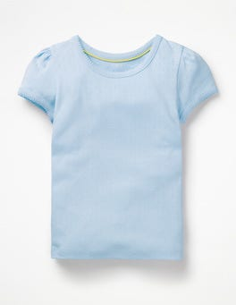 Provence Blue Short-sleeved Pointelle Top