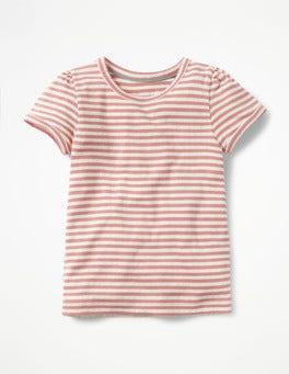 Ecru/Carousel Pink Short-sleeved Pointelle Top