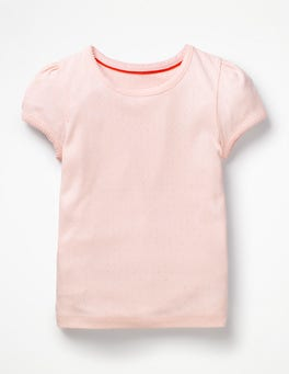 Parisian Pink Short-sleeved Pointelle Top