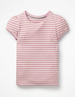 Lilac Pink/Ivory Short-sleeved Pointelle Top