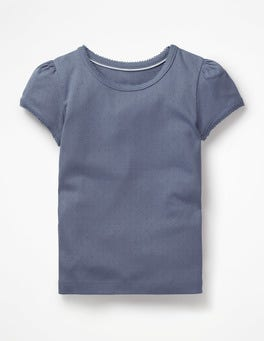 Violet Grey Short-sleeved Pointelle Top