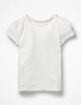 White Short-sleeved Pointelle Top