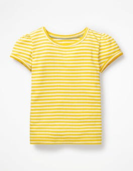 Sunshine Yellow/Ivory Short-sleeved Pointelle Top