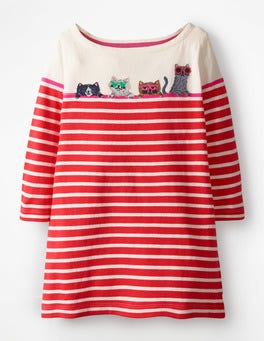 Ivory/Beam Red Cats Stripy Appliqué Tunic