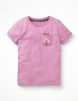 Lilac Pink Flower Embroidered Pocket T-shirt