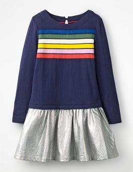 College Blue/Metallic Fun Jersey Woven Dress