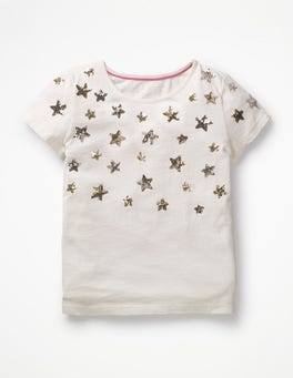 Ivory Stars Sparkly Sequin T-shirt