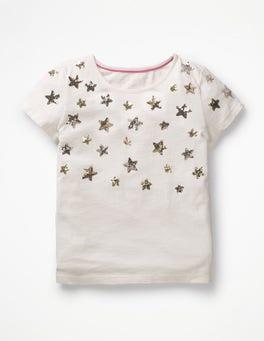 Naturweiß, Sterne Oberteil mit glitzernden Pailletten
