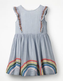 Lake Blue Stripe/Rainbows Embroidered Frill Dress