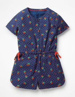 Starboard Blue Strawberry Spot Printed Woven Playsuit