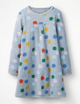 Blue Marl Painted Spot Reversible Jersey Dress
