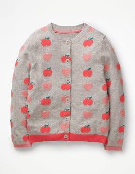 Grey Marl Apples & Hearts Fun Cardigan