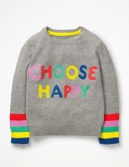 Grey Marl Happy Happy Days Sweater