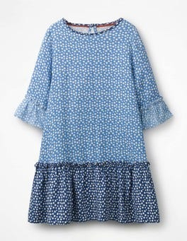 Frill Sleeve Printed Dress