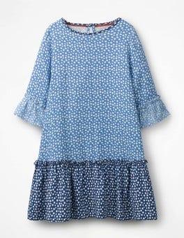 Elizabethan Blue Star Frill Sleeve Printed Dress