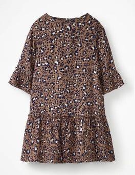22b9e903042 Soft Truffle Animal Print Frill Sleeve Printed Dress …