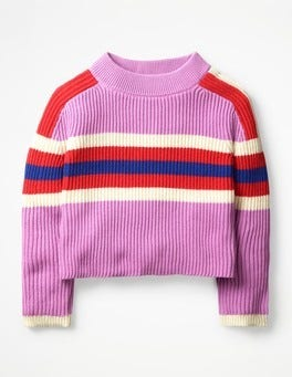 Lilac Pink Colourful Knitted Sweater