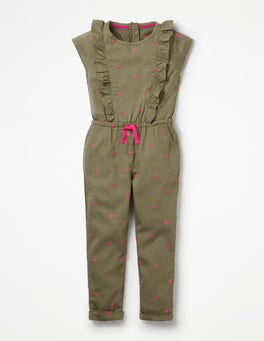 Khaki Green Sweet Hearts Frilly Woven Jumpsuit
