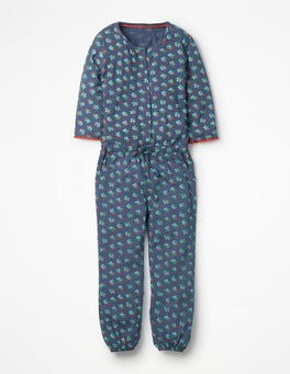 Blue Vintage Posy Printed Jersey Jumpsuit