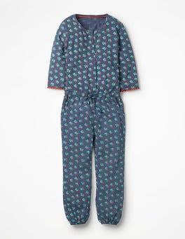 Blau, Vintage-BlumenGemusterter Jersey-Jumpsuit