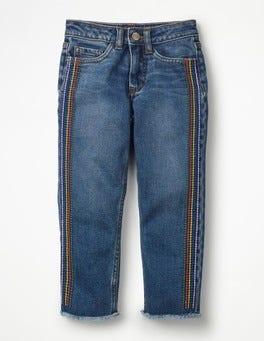 Mid Vintage/Rainbow Stripe Girlfriend Jeans