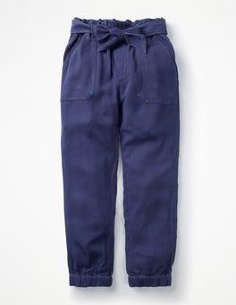 College Blue Tie-waist Pants