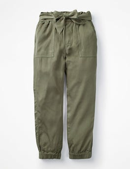 Khaki Green Tie-waist Trousers