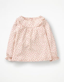Parisian Pink Sweet Hearts Printed Ruffle Top