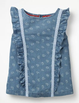 Chambray Vintage Posy Lace Detail Woven Top