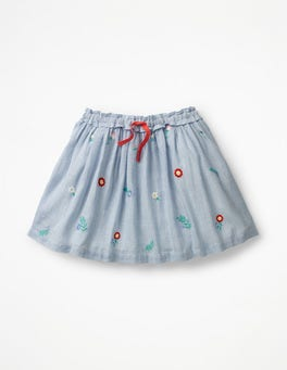 Lake Blue Ticking Stripe Pretty Embroidered Skirt