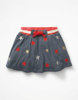 Blue Marl Sparkly Hearts/Stars Embroidered Jersey Skort