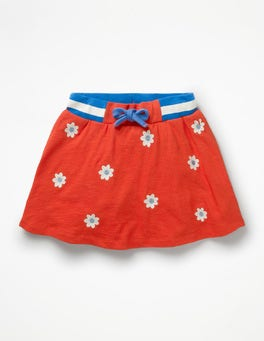 Beam Red Daisies Embroidered Jersey Skort