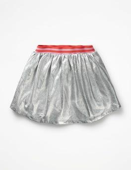 Iridescent Silver Shiny Metallic Skirt