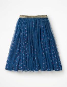 Lagoon Blue Vintage Posy Tulle Midi Skirt