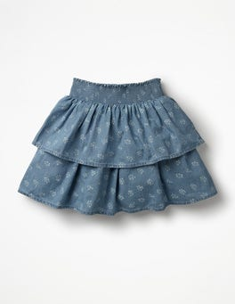 Chambray Vintage Posy Ruffle Tiered Skirt
