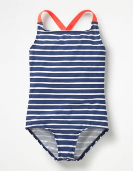 Deep Sea Blue/Ivory Cross-back Swimsuit