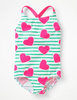 Green/Ivory Coral Pink Hearts Cross-back Swimsuit
