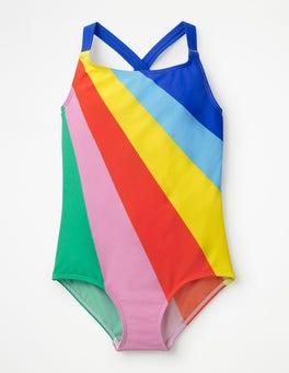 Regenbogen Badeanzug mit überkreuzten Trägern