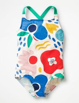 Multi Paintbox Floral Cross-back Swimsuit
