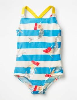 Blue Mermaid Stripe Cross-back Swimsuit