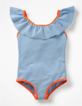Ivory/Skipper Blue Frilly Swimsuit