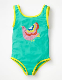 Light Green Bird Appliqué Swimsuit
