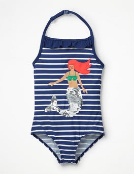 Deep Sea Blue/Ivory Mermaid Colour-change Sequin Swimsuit