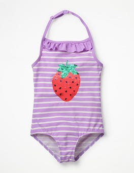 Lavender/Ivory Strawberry Colour-change Sequin Swimsuit