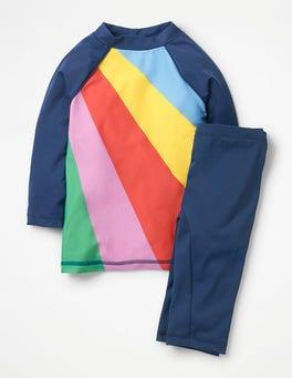 Segelblau, Regenbogen Surfset mit Sonnenschutz